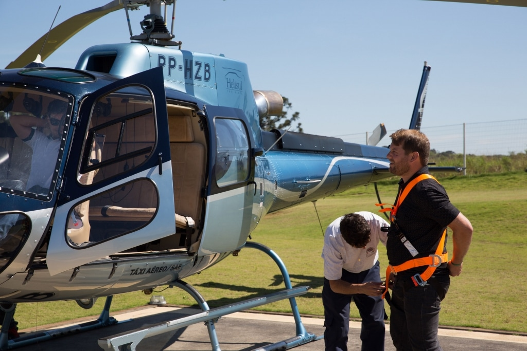 Greg Brand from Travizeo getting ready for shooting aerials from helicopter