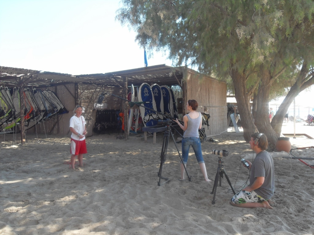 Greg Brand Carole Charreteur shooting travel videos in Greece