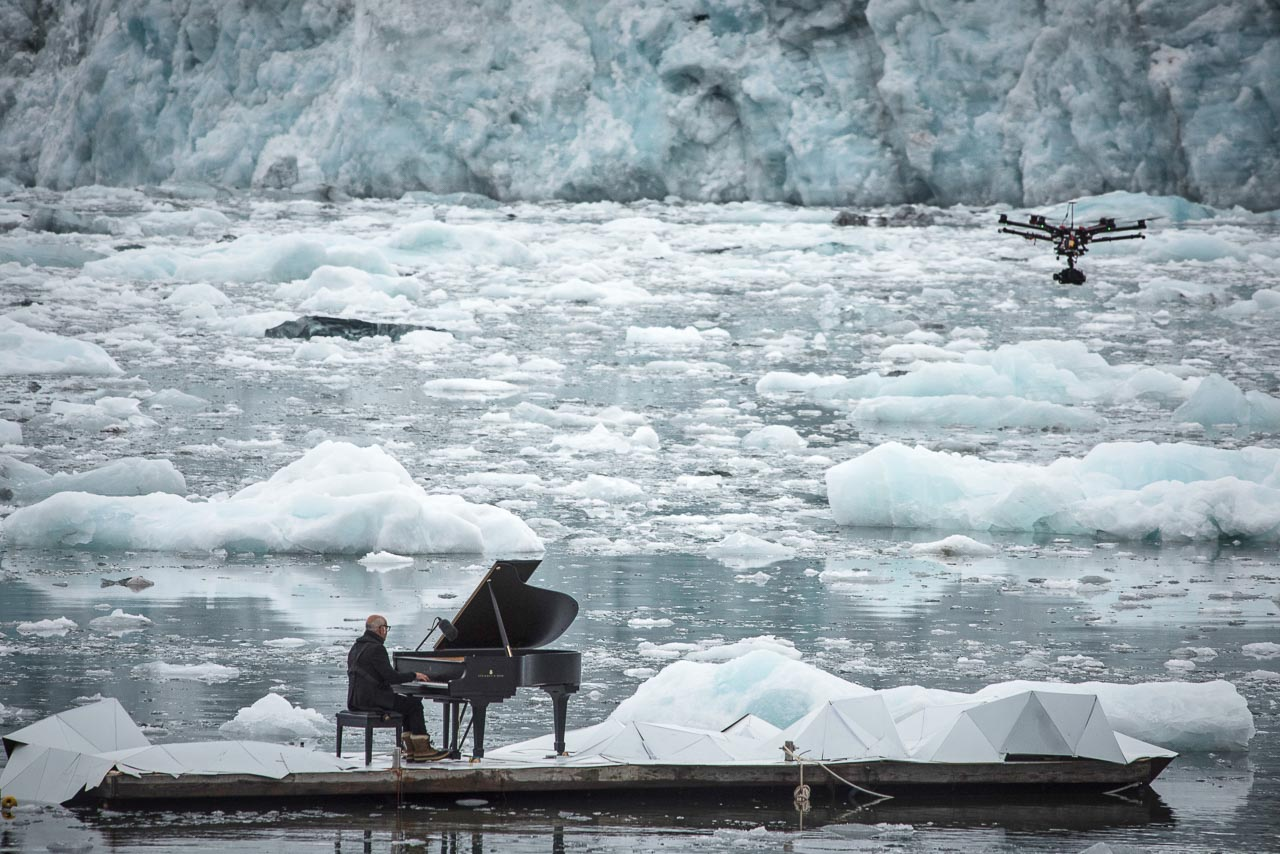 Drone films Ludovico Einaudi in the Arctic