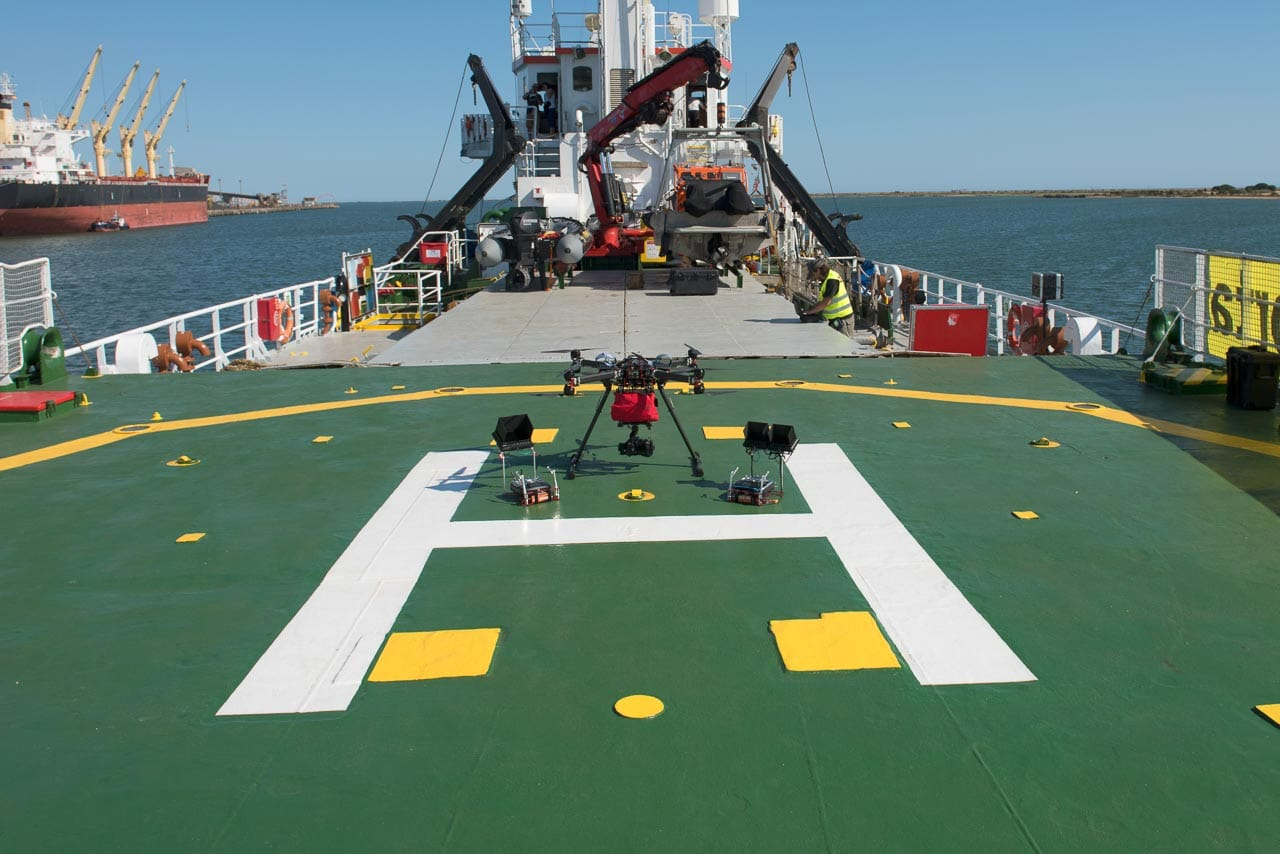 Drone helideck on Greenpeace's Arctic Sunrise