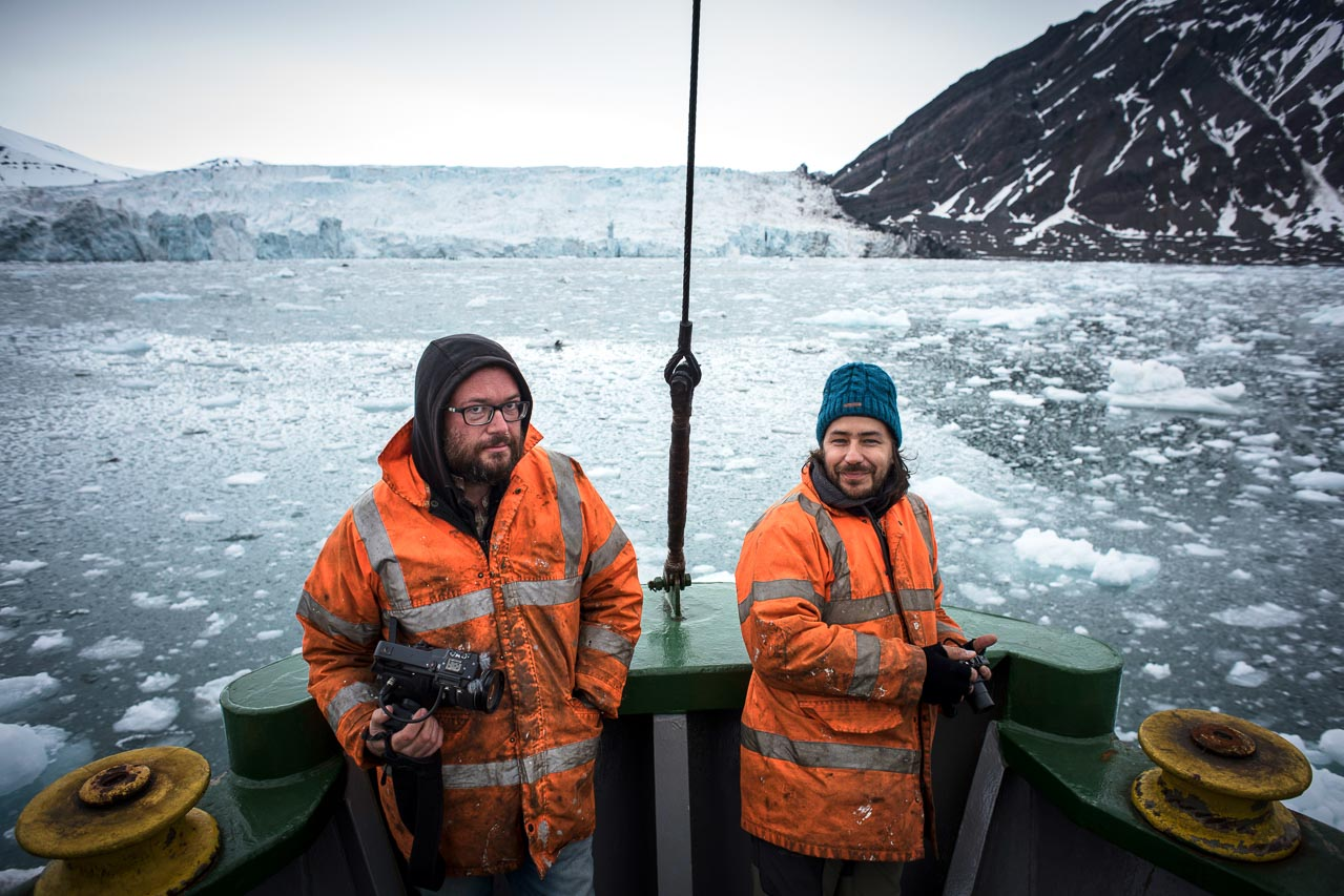 Raul Aalaejos and Roberto Fernandez onboard Greenpeace's ship Arctic Sunrise