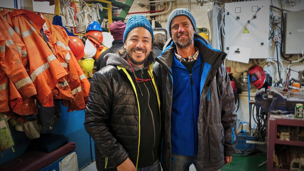 Roberto Ffernandez and Greenpeace's Arctic Sunrise Captain Mike Fincken