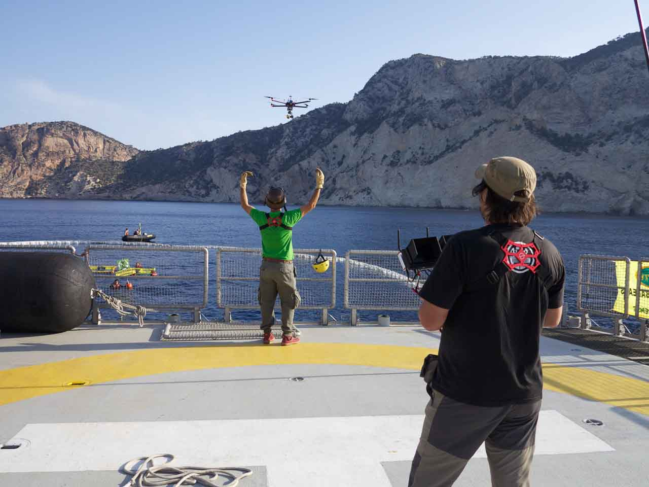 Roberto Fernandez of CopterClouds drone filming from Greenpeace's flagship Rainbow Warrior in Ibiza ©CopterClouds