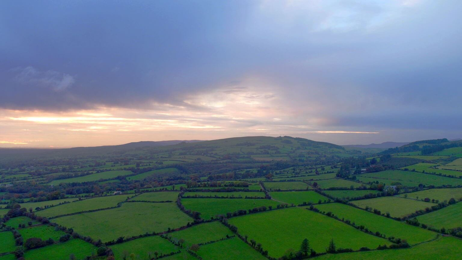 Drone shot of Tipperary Hills