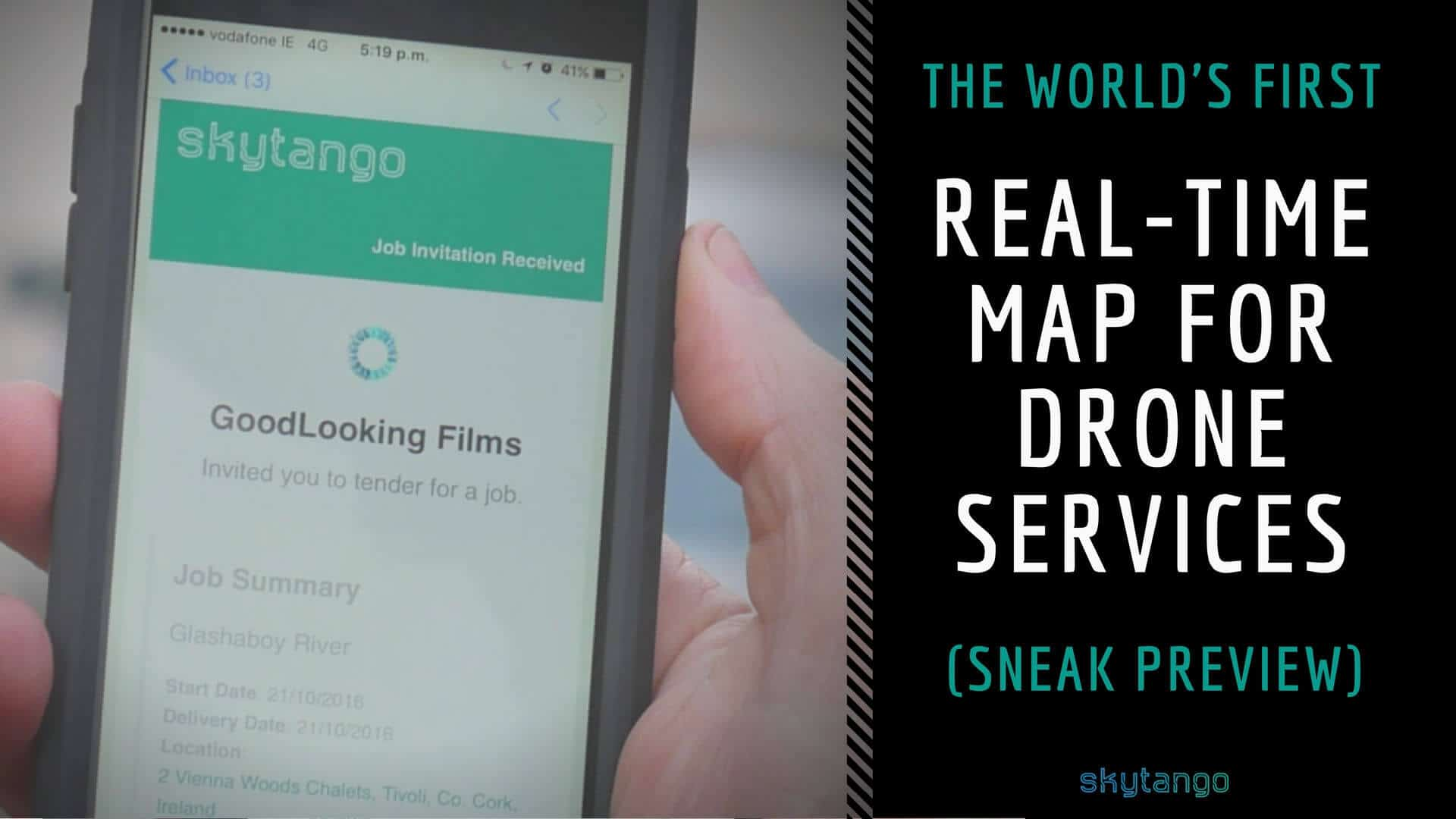 The world's first real-time map for drone service booking offered by Skytango - sneak preview
