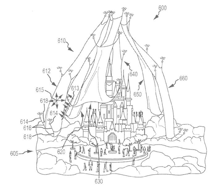 Disney patent to use drones to support projection screens