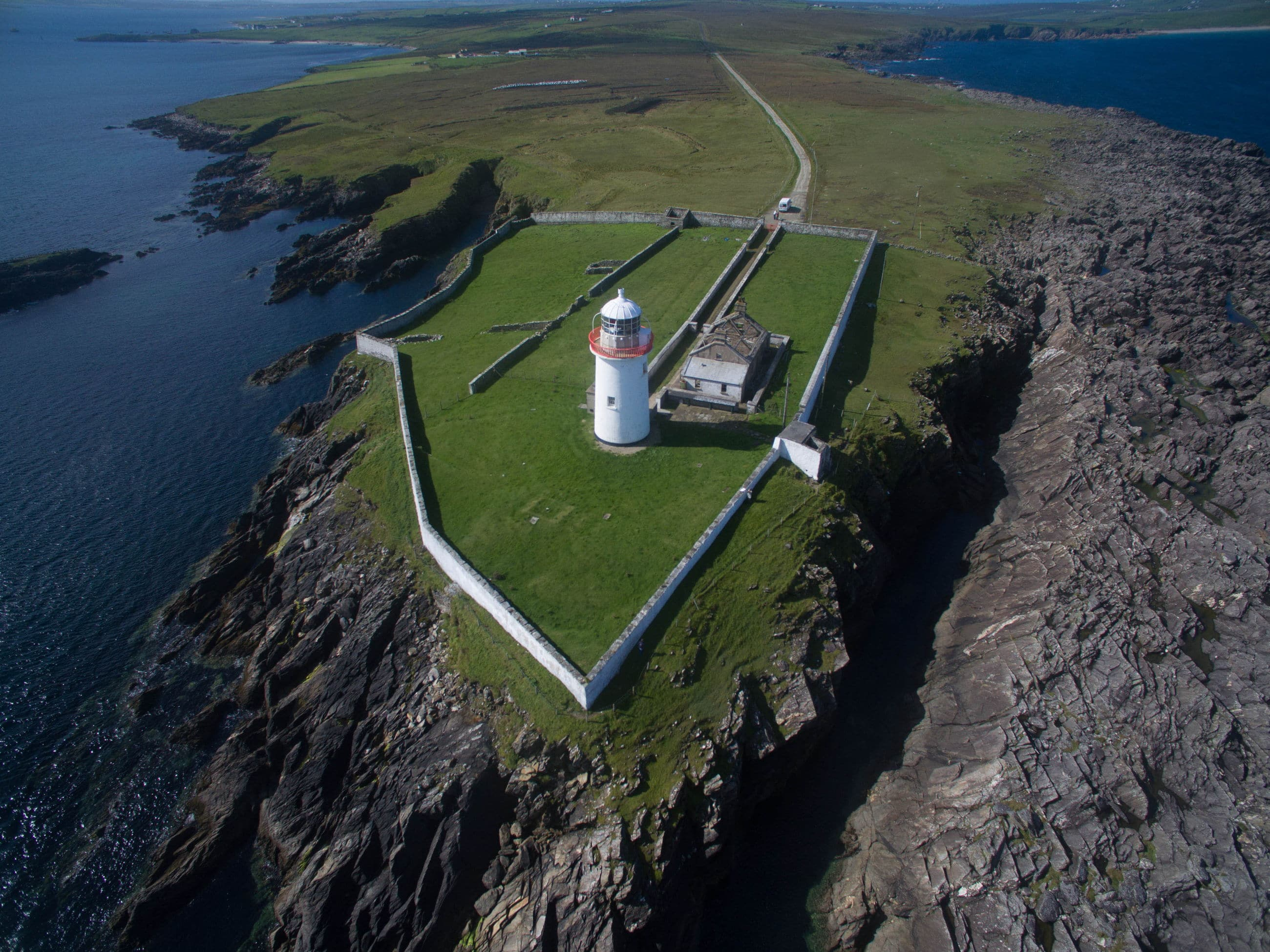 Drone shot of Broadhaven lighthouse, Co. Mayo, Ireland