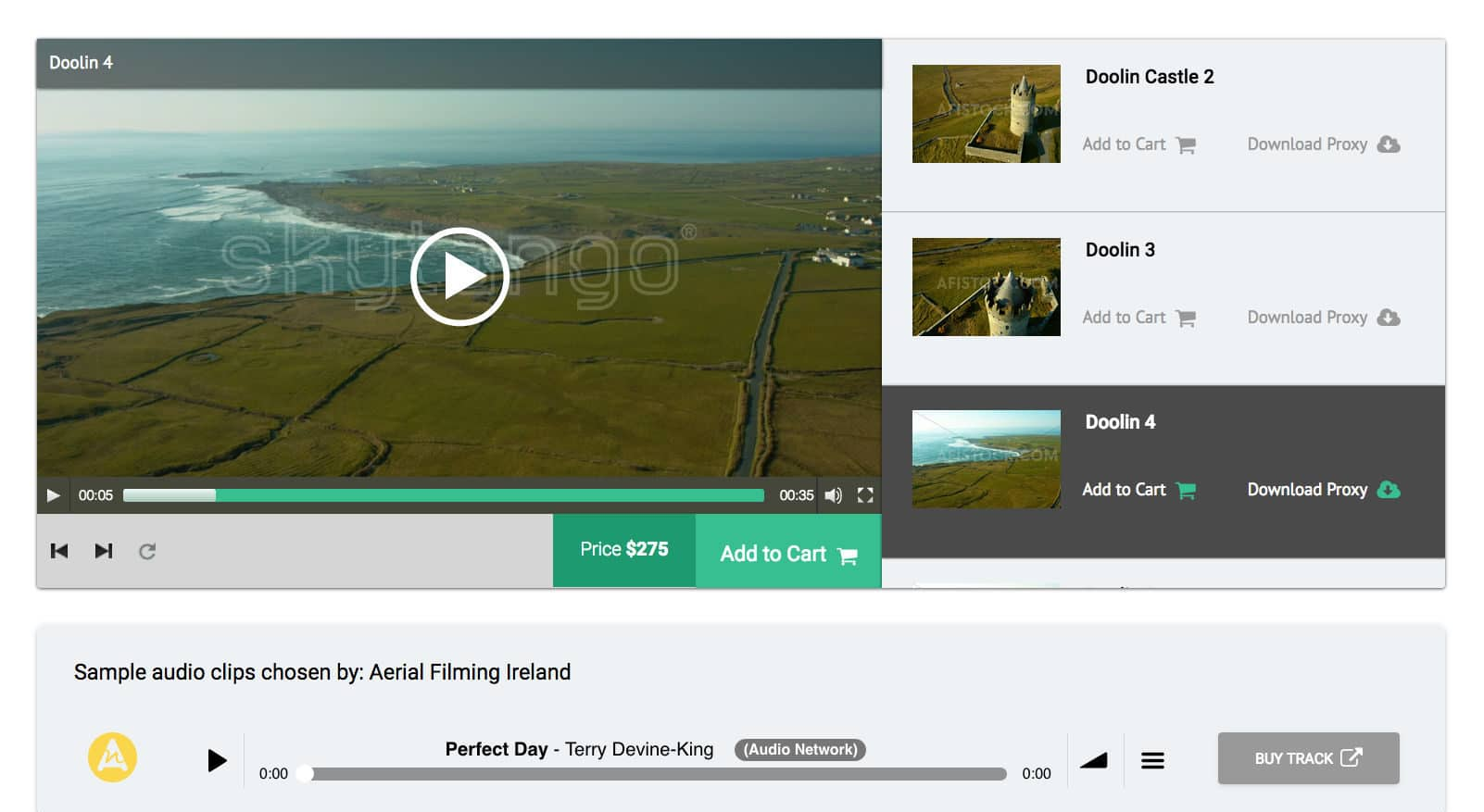 Skytango drone footage library integrated with audio tracks