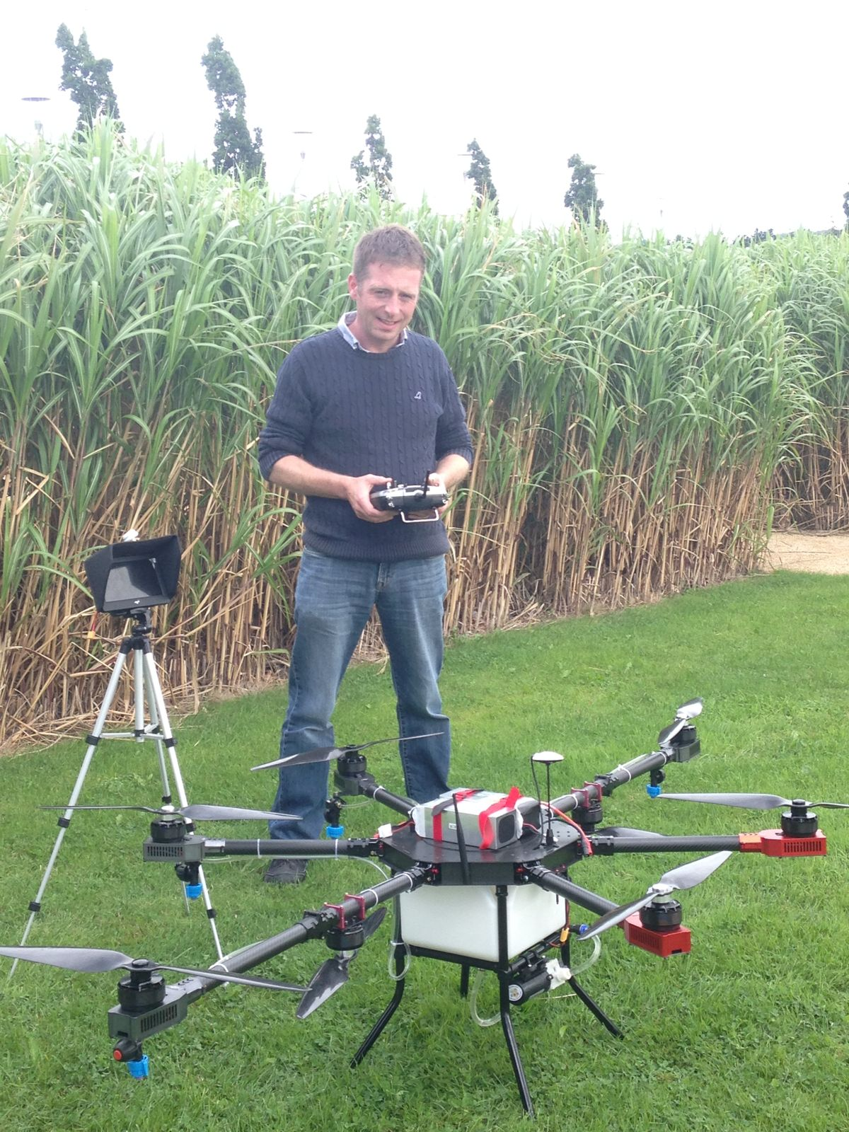 Ian Kiely organizer of Drone Tech Expo working with crop spraying drone