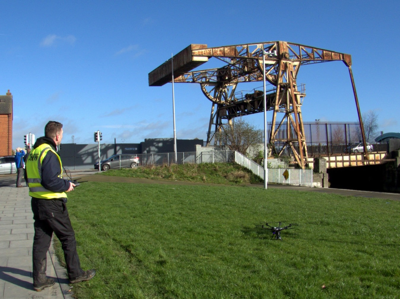 Ian Kiely of Drone Tech & Expo Ireland inspecting the iron bridge at Sheriff Street, Dublin, Ireland
